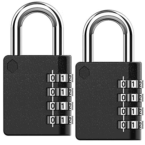 Combination Padlock, BeskooHome [New Version] Waterproof Padlocks, Security Lock, 4 Digit Resettable Combination Lock for School, Gym, Outdoor Shed Locker, Hasp Cabinet, Gate - 2 Pack
