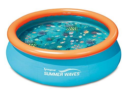 Ambientehome 3D Quick Up Kinderzwembad, set inclusief filterpomp en 2 x 3D-brillen, blauw, 305 x 305 x 76 cm, 3879 L, 26006