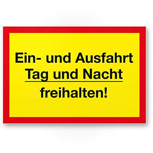 Ein- / Ausfahrt Tag- / Nacht Freihalten Kunststoff Schild (gelb-rot, 30 x 20cm), Hinweisschild Einfahrt - auch gegenüber, Parken verboten - Parkverbot, Halteverbot
