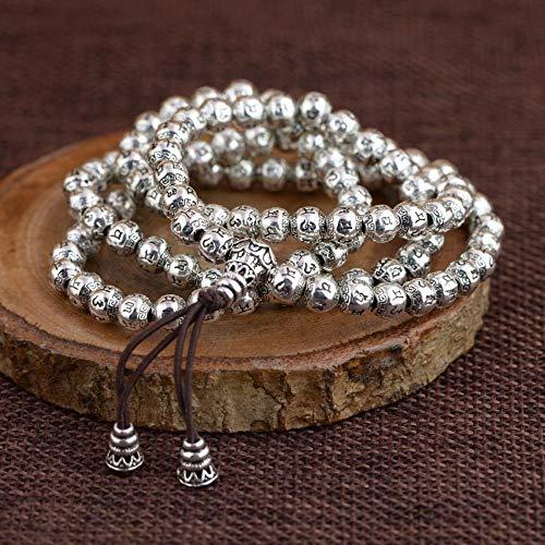 LLXXYY Armband Voor Vrouwen Vintage 925 Sterling Zilver, Mutilayer Graveren 108 Kralen Armbanden Charm Chain Bangle Voor Vrouwen Mannen Baby Meisje Manchet Personaliseren Sieraden