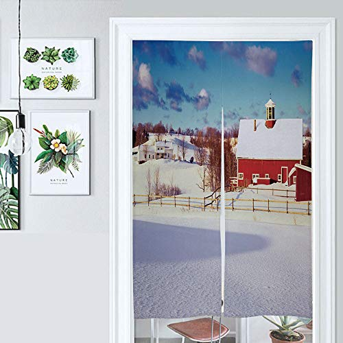 SUPNON Japanese Noren Doorway Curtain Winter in The Vermont Country Side Door Way Curtain Fitting Room Curtain Partition Curtain Door Hanging Tapestry IS119645 W33.5 x L59