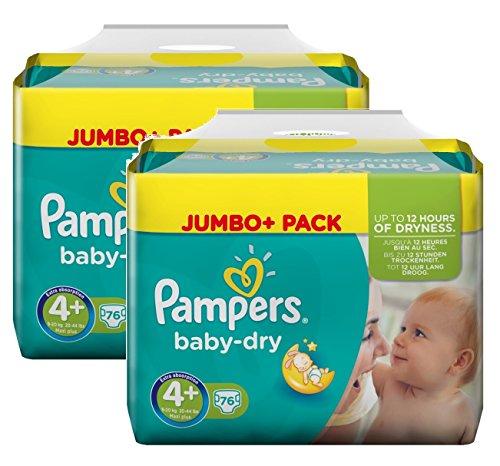 Pampers Tamaño del bebé en seco 4+ Maxi Plus 9-20kg Jumbo Plus Pack, paquete de 2 (2 x 76 pañales)