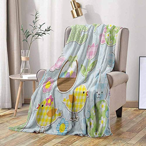 RenteriaDecor Easter Travel Blanket Nursery Theme Bunnies and Chicks with Giant Eggs Pastel Colored Holiday Illustration 60x60 Inch Microfiber Fuzzy Flannel Blanket for Adults or Kids
