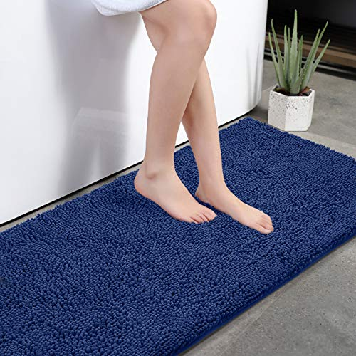 KMAT Bath Mat Rug Nonslip Plush Chenille Bathroom mat Quick Absorbent 28' x 47' Blue Large Bath Rug for Bathroom Floor Tub Shower Bedroom Living Room,Machine Washable