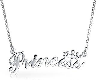 Parola Crown Princess Piastra Nome Collana Pendente Per Donne Per La Teen Argento 925