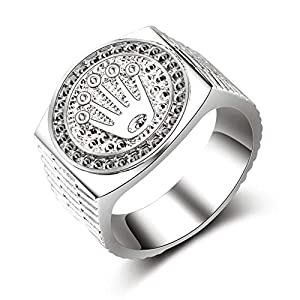 HasiDun Preferred Fashion Hip Hop 18K Gold Iced Out Crown Ring für Herren Verlobung Hochzeit Party Ringe Schmuck für Geburtstag, Valentinstag, Jahrestag (kein 9 Silber 9.)