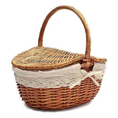 TOPSALE Handgemachte Weiden Korb mit Griff, Wicker Camping Picknick Korb mit Doppel Deckel, Einkaufskorb Korb mit Stoff Bezug