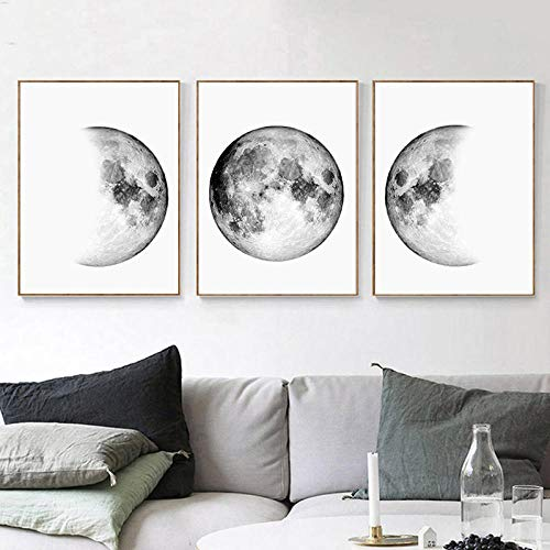 NLZNKZJ Leinwandbilder Mondphasen Wandkunst Schwarzposter und Weißdrucke Erde Bilder, Schlafzimmer Wohnzimmer Dekor wandbilder 50x70cmx3 ohne Rahmen