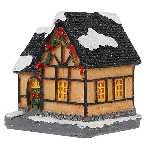 TOYANDONA Christmas Scene House Village with Light LED Christmas Ornament Resin Snow Village Houses Christmas Fairy Garden Dollhouse Accessories Holiday Party Supplies (Style D)