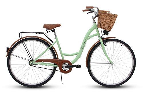 Goetze Eco Vintage Citybike Hollandrad Damenfahrrad Stahl Gestell Tiefeinsteiger 26 Zoll Alu Räder mit Rücktrittbremsen 1 Gang ohne Schaltwerk Weiden Korb Inklusiv!