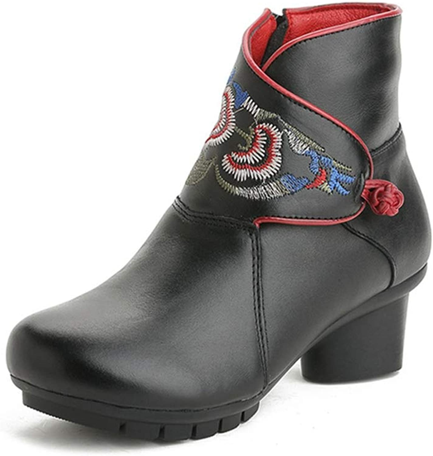 GIY Women's Retro Embroidered Ankle Boots Leather Round Toe Zipper Low Heel Bootie Winter Dress Short Boot