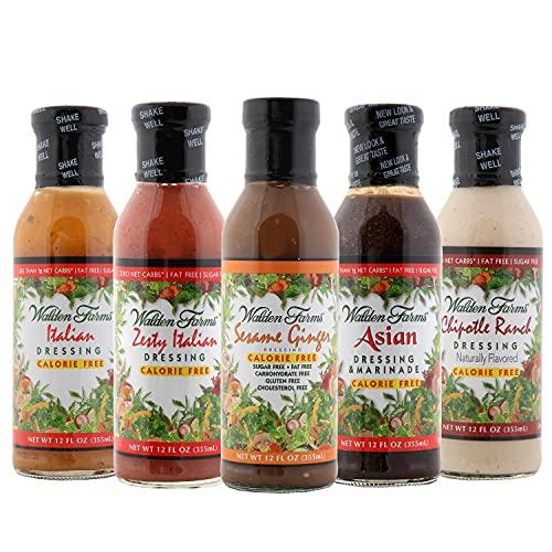 Walden Farms Salad Dressing - Zesty Italian- Italian Dressing -Asian-Chipotle Ranch-Sesame Ginger - Calorie Free Fat Free Gluten Free Sugar Free - Variety Pack 5x12oz