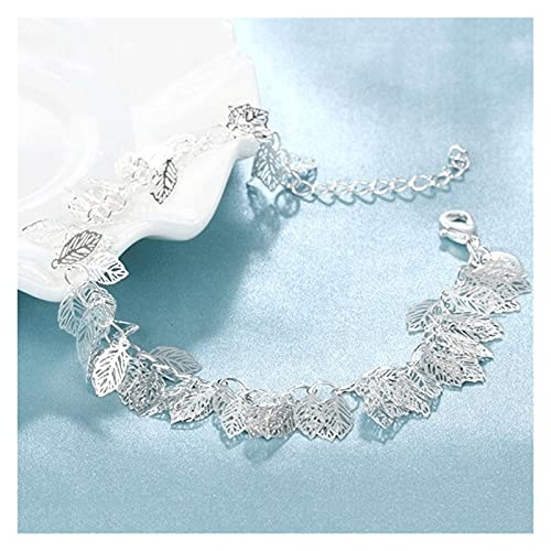 LYWER 925 Pulsera de Hoja Hueca de Plata Joyas de Plata esterlina para Mujer Dulce Retro Coreano Joyería de Moda Regalo
