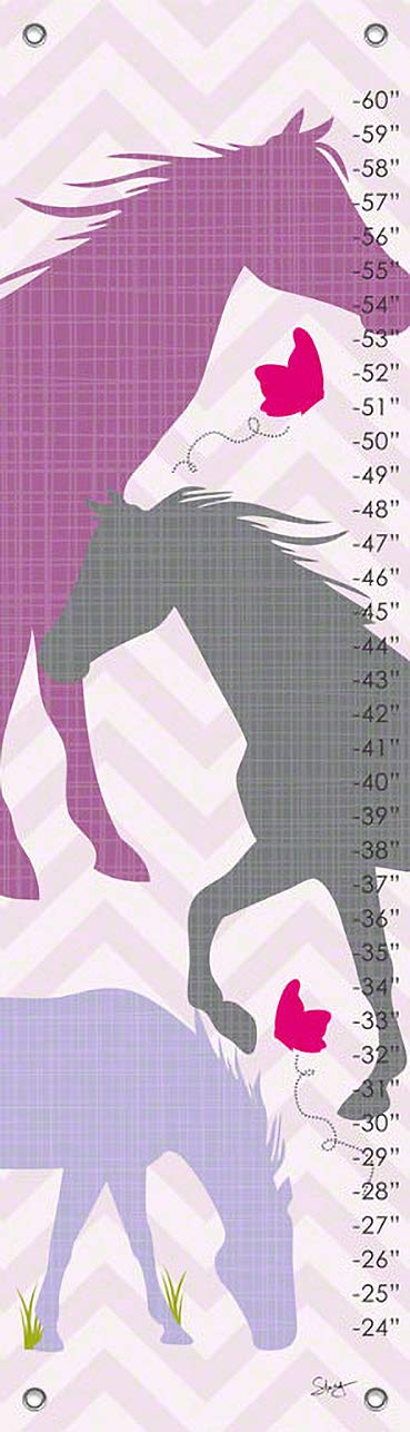 Oopsy Daisy Growth Charts Modern Popular products Sacramento Mall Horses Purple Stacy Men Amoo by