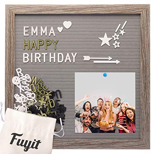 """Felt Letter Board Message Sign 12"""" x 12"""", Grey EVA Changeable Announcement Board, 600 White & Gold & Black Characters, Symbols & Emojis & Cursive Words, Rustic Wood Frame Board for Photo Display"""