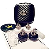 2 Pack- Fashion Contact Lens Case Cute Crown Black White - Portable Box Kit with Mirror (2 Pack - Crown)