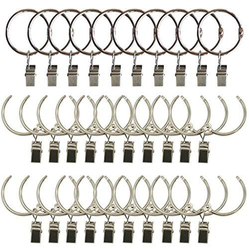 E EBETA Ebeta Vorhangringe mit Clips für Gardinen & Vorhänge Metall Gardinenringe Vorhang Clip (30mm)