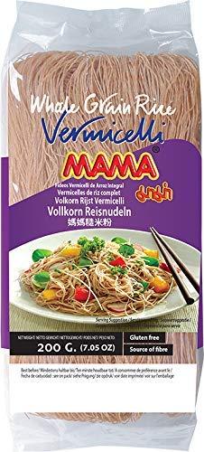 MAMA Vermicelli Reisnudeln Vollkorn – Reisnudeln orientalischer Art – Authentisch thailändisch kochen – 4 x 200 g