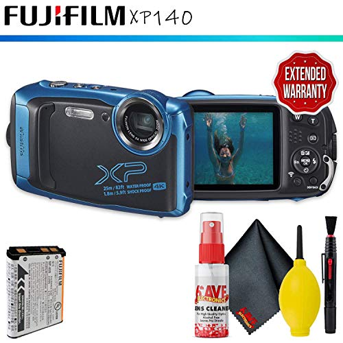 FUJIFILM FinePix XP140 Digital Camera (Sky Blue) + Cleaning Kit + Extended Warranty