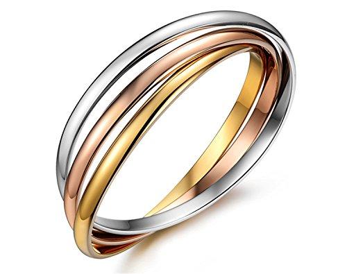 yigedan Pulseiras - Pulseras de acero de titanio chapado en oro de 18 quilates, 3 colores para mujer