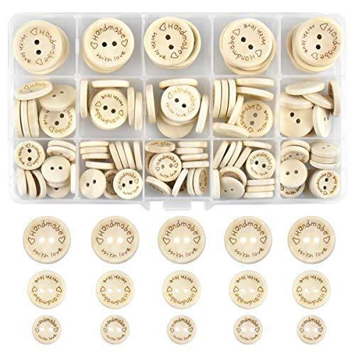 NATUCE Botones Costura Madera, 140 Piezas Botones Redondos de Madera Natural, Botón Madera 15mm 20mm 25mm, Botones Decorativos para Manualidades de DIY Coser Artesanía