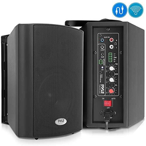 Wall Mount Home Speaker System - Active Passive Mountable Bookshelf Indoor Studio Garage Patio Stereo Sound Home Theater Speaker, Wireless Bluetooth Speaker Set W/Aux & RCA - Pyle PDWR53BTBK (Black)