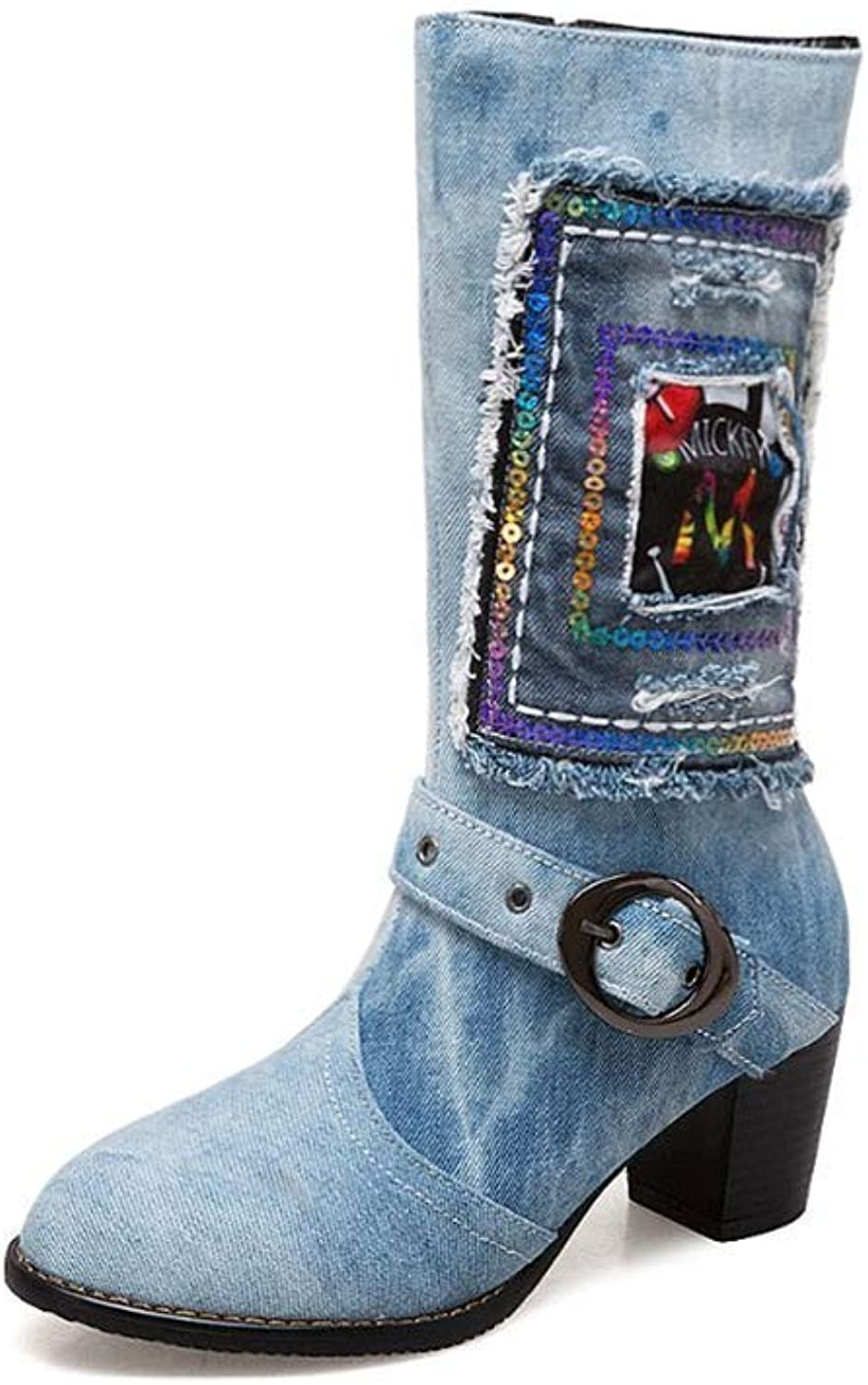 Webb Perkin Women Mid Calf Design Denim Embroider High Square Heels Large Buckle shoes Lady Fashion Boots