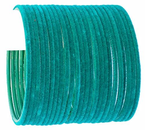 Indian Bollywood Style jewelry Trendy Plain Velvet Bangle Churi Set Color Bangles (10, AQUA)