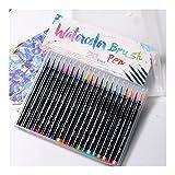 FURASTY Pluma de Acuarela 20 Color Acuarela Pintura Marcadores Pen Premium Soft Brush Pen Set Coloring Libros Manga Comic Caligrafía Art Marker Acuarela y bolígrafo (Color : 20color)