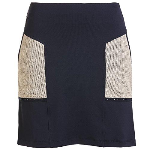 GOLFINO Damen Kurzer Golfskort Dry Comfort mit Strassbesatz Blau XS