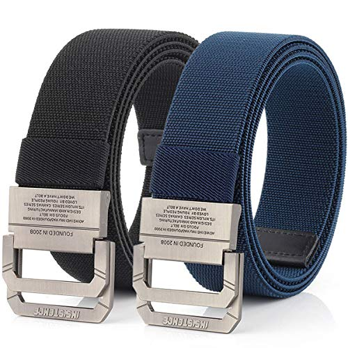 Hoanan Tactical Belts for Men 2Pack Elastic Stretch Military EDC Duty D-ring Belt 1.5' Wide( Black/navy-fit pant size: 0 -40')
