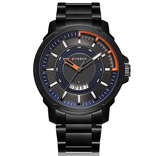 Herren-Armbanduhr mit großem Zifferblatt, klassisch, luxuriös, Quarz, wasserdicht, mit hochwertigem Edelstahlband