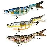 Señuelos Pesca para Lubina Lucio Carpa, Weinsamkeit 3 Pcs 13.5 cm Pescar Señuelos para bajo Cebo, 3D Cebos para Pesca,...