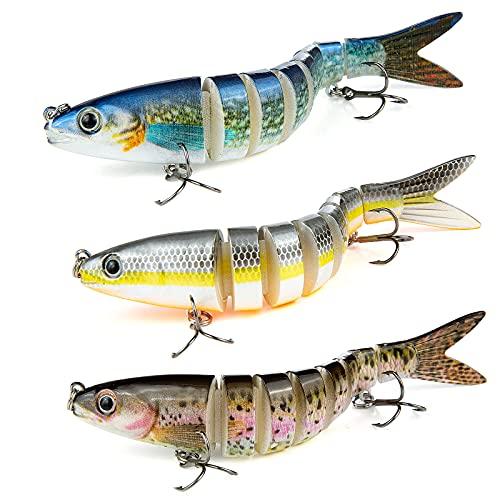 Señuelos Pesca para Lubina Lucio Carpa, Weinsamkeit 3 Pcs 13.5 cm Pescar Señuelos para bajo Cebo, 3D Cebos para Pesca, Artificial de articulaciones de Ganchos de Pesca de Agudos Duros