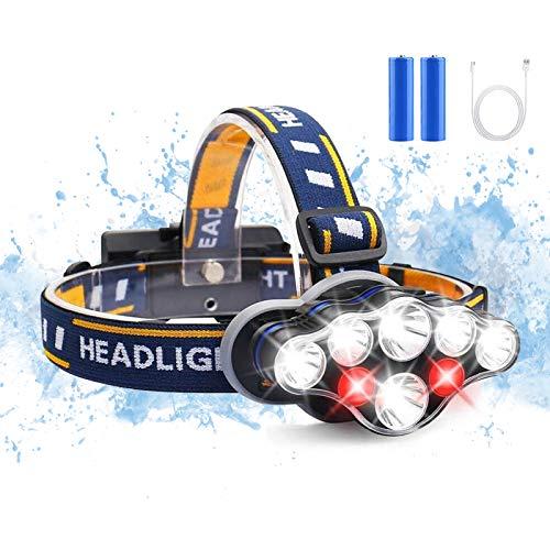 ヘッドライト 8 LED USB充電式 ヘッドランプ IPX6防水 8つ点灯モード 18650バッテリー付き 夜釣り 登山 キャンプ ハイキング サイクリング アウトドア作業用 非常に対応 SOS赤フラッシュ安全対策 IPX6防水 防災 地震対策
