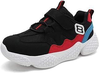 [麗人島株式會] レッドスポーツキッズスニーカー用子供靴男の子カジュアルシューズ女の子トレーナーエアメッシュ通気性フライ弾性バンド靴