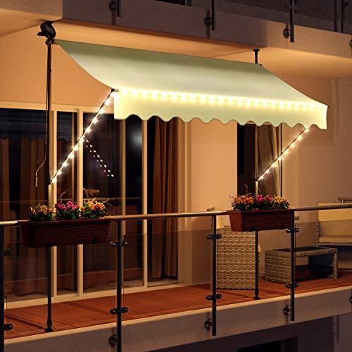 Swing & Harmonie LED - Markise mit Kurbel Klemmmarkise Balkonmarkise mit Beleuchtung und Solarmodul Fallarm Markise Sonnenschutz Terrasse Balkon (300x150, Creme)