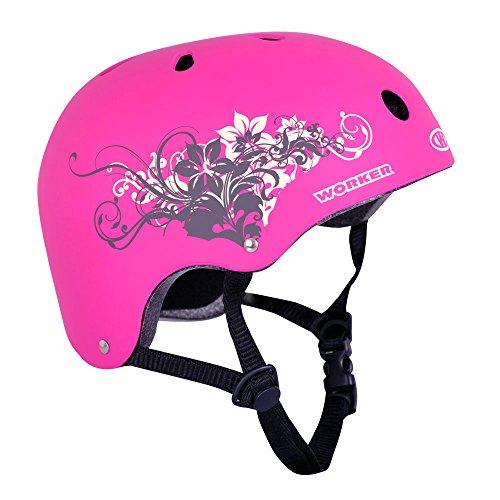 Skaterhelm Cutte floral pink Gr. 52-55 cm, 55-58 cm Skate Helm Inlineskating Skateboarding Mädchen (S 52-55)