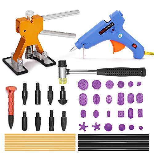 VISLONE Werkzeugsatz zur Reparatur von lackfreien Dellen Verstellbarer Werkzeugsatz zur Reparatur von Dellenhebern Pops EIN Dent Puller-Kit zur Reparaturund zur Entfernung von Autodellen