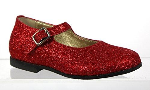 Gallucci Mädchen Mary Jane Party Schuhe Ballerinas Ballerinas Sandalen Glitzer Leder Made in Italy Luxuriöse Qualität Größe EU23
