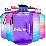 BuildLife Gallon Motivational Water Bottle with Time Marked to Drink More Daily - BPA Free Reusable Gym Sports Outdoor Large 128oz Capacity(Light Purple, 1 Gallon)