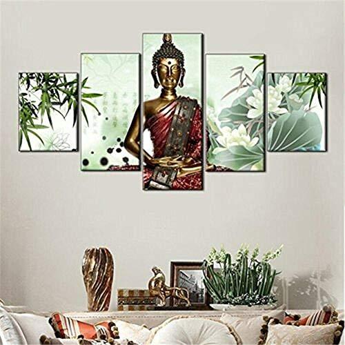 IJNHY 5 Piezas Lienzos Cuadros Pinturas Estatua de meditación de Buda Lotus Zen Impresiones En Lienzo Decoración para El Arte De La Pared del Hogar, Salón Oficina Mordern Decoración Artística