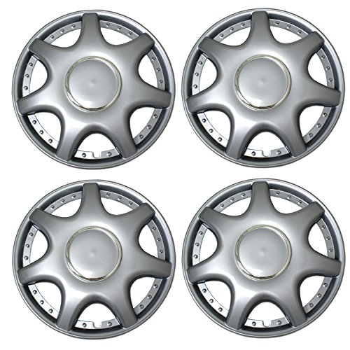 Tuningpros WC3-15-5014-S - Pack of 4 Hubcaps - 15-Inches Style Snap-On (Pop-On) Type Metallic Silver Wheel Covers Hub-caps