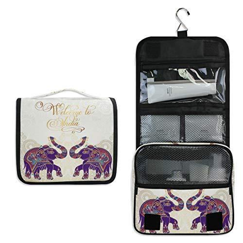 Mr.XZY Bolsa de maquillaje con estampado de elefante mandala para mujer, estilo indio, multifunción, portátil, con cremallera, bolsa de aseo 2011828