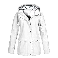 4THSEASON Womens Lightweight Hooded Waterproof Coat Mid Thigh Slimfit Outdoor Raincoat Long Sleeve Rain Jacket with Zip