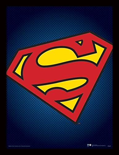 Pyramid International DC Comics (Superman Symbol) 30x40 cm gerahmter Druck, 250GSM PAPERWRAP MDF, Mehrfarbig, 44 x 33 x 4 cm