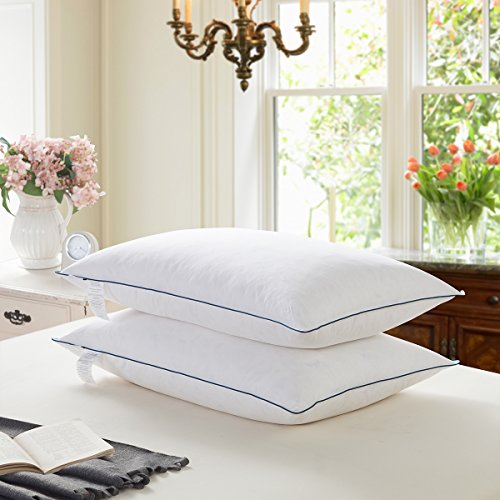 WENERSI White Goose Feather and Down Pillows for Sleeping(2-Pack,Queen Soft) 100% Cotton Shell with...
