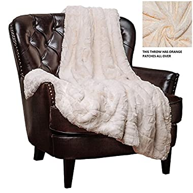 Chanasya Faux Fur Throw Blanket - Super Soft Fuzzy Light Weight Luxurious Cozy Warm Fluffy hypoallergenic Fleece Blanket for Bed Couch Sofa Chair (50  x 65 ) - Ivory (Machine Washable)