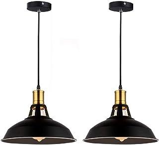 Lot de 2 Suspension Luminaire Industrielle, Plafonnier Rétro en Noir Classique avec Câble Réglable, Vintage Noir en Métal ...