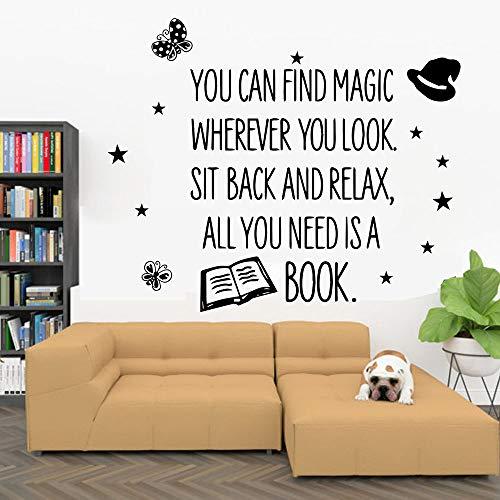 Libros pegatinas de pared cita vinilos adhesivos para ventanas educación librería sala de lectura jardín de infantes arte interior pegatinas de pared57x68 cm